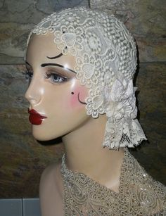 One-of-a-Kind 20's Flapper Girl Lace Ruffled Hat by Graceful Butterfly...winner of the 2012 Hatty Award