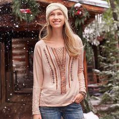 """GEOMETRIC NOTIONS TOP--Our super soft, cotton slub embroidered top is embellished with sequins, beads, geometric stitchwork and lace at sleeves. Hand wash. Imported. Exclusive. Sizes XS (2), S (4 to 6), M (8 to 10), L (12 to 14), XL (16). Approx. 25""""L."""