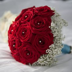 Red Rose bouquet and pearls & Gypsophila. Poppies Florist Bournemouth