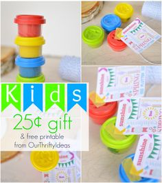 These little playdough are from the $1 spot at Target. How smart is this - Give this as a gift to your kids' friends for just $.25 each!!! And there's a free printable too