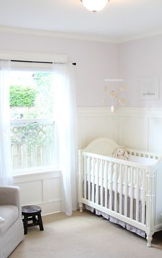 baby girl traditional sweet nursery / lavender and white