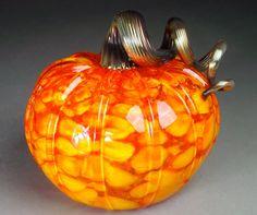 Hand Blown Glass Pumpkin  Fall Harvest Mix Corn Pumpkin