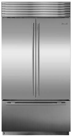 Sub-Zero Stainless 24 cu. Built-In French Door Fridge, Tubular Handle Pine Kitchen, Kitchen Redo, Kitchen And Bath, Kitchen Remodel, Kitchen Ideas, Modern Refrigerators, Kitchen Family Rooms, 42 Inch, Kitchen Essentials