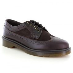 buy popular 30e2a 721e6 Dr Martens 3989 Mens Leather and Suede Brogue Shoes in Dark Brown