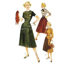 Blouse and Skirt Pattern Simplicity 4355 Sz 14 Blouse And Skirt, Pleated Skirt, 1950s Fashion, Vintage Fashion, Detachable Collar, 50s Vintage, Simplicity Patterns, Collar And Cuff, Vintage Patterns