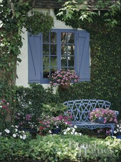French blue shutters, French blue bench     The Ultimate Cosy Cottage!