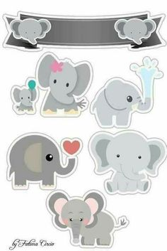 Elefantitos Bebés: Toppers para Tartas, Tortas, Pasteles, Bizcochos o Cakes para Imprimir Gratis. Diy And Crafts, Crafts For Kids, Paper Crafts, Printable Stickers, Planner Stickers, Baby Scrapbook, Scrapbook Paper, Elephant Party, Freebies