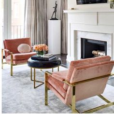 CONTEMPORARY LIVING ROOM DECOR | Living Room Chairs. Modern Chairs. Upholstered Chairs. Pink Velvet Chair. | www.bocadolobo.com #contemporarydesign #contemporarydecor