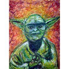 Yoda Scribble   MIke Brennan  #yoda #starwars #watercolor #ink #art #crayon #pencil #green #jedi #scribble #line #texture