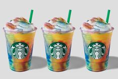 Starbucks Adds Colorful Tie-Dye Frappuccino to Its Menu for 'a Few Days' Starbucks Coupon, Starbucks Rewards, Starbucks Menu, Starbucks Gift Card, Starbucks Recipes, Starbucks Whipped Cream, Vanilla Whipped Cream, Coffee Prices, Tie Dye Techniques