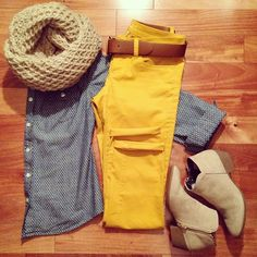 Tan scarf, mustard pants, chambray shirt, ankle boots just need the pants