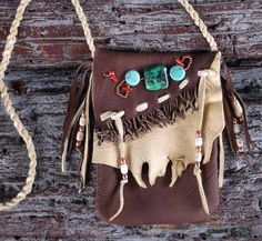 Soft Deer Skin Cell Phone Pouch Medicine Bag Decorated by misstudy, SOLD
