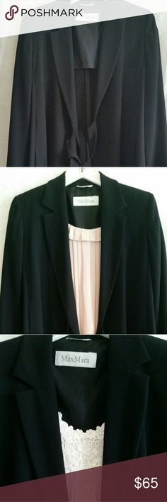 """NWOT ITALIAN MADE BLAZER Gorgeous Black Jacket for every occasion.  Made in Italy by Max Mara this will quickly become your """"go to"""" jacket. Wear it over a dress, blouse , to the Boardroom or to dinner. Like a Boss! Long jacket with Tie closure, (one tie longer) has side slits to allow that feminine movement. MAX MARA Jackets & Coats Blazers"""