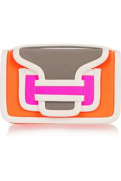 Contrast leather-trimmed neoprene clutch by Pierre Hardy