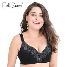 02d572877a FallSweet D E cup Lace Push Up bra for Plus Size Women 44 46 48 50 Women  Large Cup Bras Brassiere