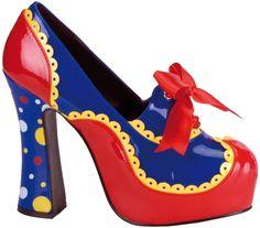 Zapatos de payaso para mujer, con cinta roja y casi 12 cm de tacón. Disponibles en www.vegaoo.es