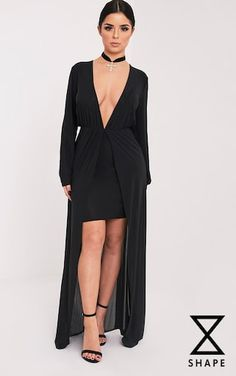 Shape Katy Black Slinky Plunge Maxi Dress