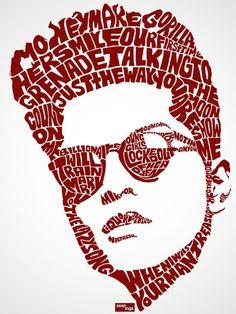 Travail de typo-designer Sean Williams qui a dessiné chaque portraits d'acteurs connus et de pop star : Bruno Mars
