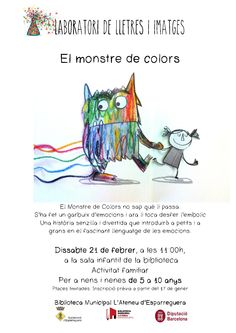 """Ja us podeu apuntar al pròxim Laboratori de lletres i imatges """"El monstre de colors"""", el dissabte 21 de febrer a les 11h!"""