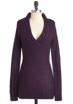 Hold Me Close-Knit Sweater in Aubergine - Purple, Solid, Knitted, Casual, Long Sleeve, Sheer, Long, Fall, Winter