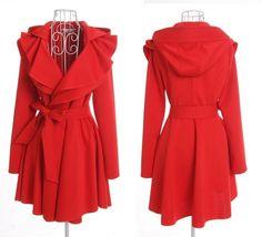 women's Princess style hood Coat jacket Windbreaker red color dy07 S-XL. $49.99, via Etsy.