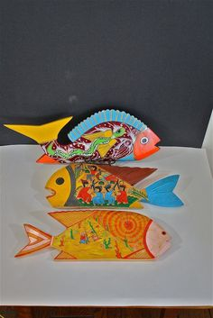 wood fish art | WOOD FISH - Vintage set of 3 Folk Art Hand Carved and Painted Fish