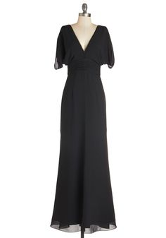 Make it Marvelous Dress - Long, Woven, Black, Solid, Special Occasion, Wedding, Bridesmaid, Vintage Inspired, Maxi, Short Sleeves, 30s, V Neck