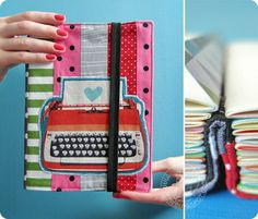 marysza, patchwork, notebook, journal, book, calendar, organiser, sketchbook, diary, dots, stripes, feather, pink, red, grey marysza. handmade goods made with love