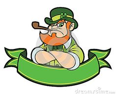 A tough looking, cartoon leprechaun over a green banner