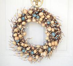 Easter Wreath  door wreath  pastel eggs  spring by laurelsbylaurie, $52.00