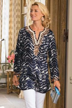 Akira Tunic. Two top trends - tie-dye and chevrons - work together in this lusciously soft and lightweight tunic. | Soft Surroundings