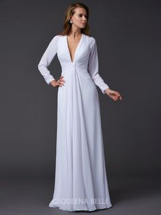 Sheath/Column Long Sleeves V-neck Ruched Floor-Length Chiffon Dresses