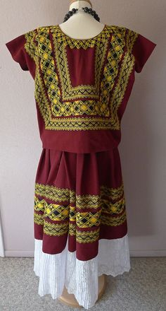 Classic embroidered Tehuana cadinella outfit by LivingTextiles