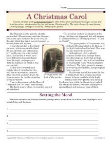 """Dickens' Ghost of Christmas Future is scary, as your student will discover in this worksheet for """"A Christmas Carol.According to the website, the worksheet is great practice for Common Core Standard for Craft and Structure for middle school students. Free illustrated printable."""