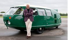 Architect Sir Norman Foster and his reproduction of a Buckminster-Fuller-designed Dymaxion car