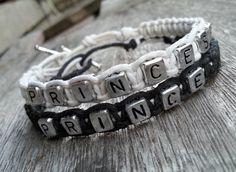 --★--★--   ITEM DETAILS   --★--★--  Handmade bracelets saying Prince and Princess,great for couples to wear at wedding or as a special occasion gift.  It comes with two hemp bracelets that close with a bead and loop closure. You can choose the color you want from the showing picture above.  Th...