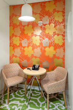 FLOR / Lasting Grateness-Kiwi/Bone / Retail Me Not - Austin, TX / Designed by STG Design / Today in cozy conference corners <3