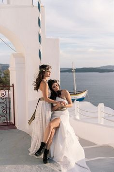 3 Things You Can Do To A Woman Colorful Bohemian Wedding Inspiration off the Coast of Santorini- flower crown- same sex couple shot Couples Lesbiens Mignons, Cute Lesbian Couples, Two Brides, Bohemian Wedding Inspiration, Outfits Damen, Santorini Wedding, Lesbian Wedding, Girls In Love, Trends