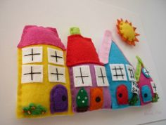 Framed Felt Art - Rainbow Village