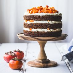 The Bojon Gourmet: Two-Persimmon Layer Cake with Vanilla Bourbon Cream Cheese Frosting {Gluten-Free} flax or chia egg, vegan cream cheese and vegan butter Layer Cake Recipes, Frosting Recipes, Dessert Recipes, Layer Cakes, Fun Recipes, Winter Recipes, Holiday Recipes, Chips Ahoy, Gluten Free Cakes