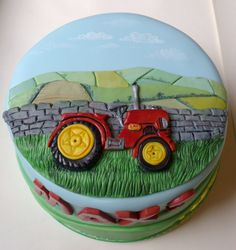 Little Red Tractor Birthday Cake Children 80th Birthday Cake For Men, Tractor Birthday Cakes, Creative Birthday Cakes, Farm Birthday, Tractor Cakes, Jake Cake, Transportation Birthday, Birtday Cake, Themed Cakes