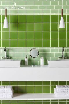 Wall Tiles by Original Style, Artworks Range, Pavilion Green Field Tiles. A mixture of pale spring-time green half tiles and vibrant and bright green field tiles creates this striking tiled pattern. A contemporary look for the bathroom or kitchen.