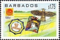 Stamp: Various kites (Barbados) (Phila Nippon '01, Japan) Mi:BB 1010,Sn:BB 1009,Yt:BB 1055