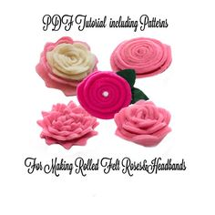 The felt flower pattern will teach you how to make felt roses for felt rose headbands and other accessories. The PDF Tutorial will teach you step-by step to:    - Make straight, scalloped or spiked edge felt rose using the included patterns  - Cut felt roses freehand  - Make roses with two colors of felt  - Make simple or ornate rose leaves using the included patterns  - Attach felt roses to elastic headbands with single or trio of flowers  - BONUS Make lace ribbon base for your flower…