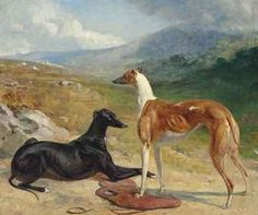 Circle of Abraham Cooper (1787-1868)  Two prize greyhounds in an extensive landscape