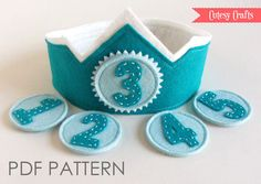 Felt Birthday Crown with Interchangeable by CutesyCraftsBoutique