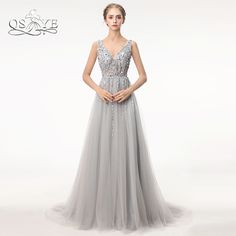 2e6c9b68f20d7b Sexy Split Prom Jurken 2018 Diepe V-hals Backless Bead Crystal Partij Jassen  Mouwloze Sweep