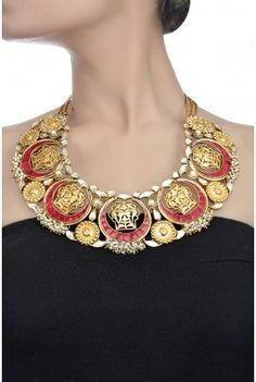Indian bridal coral, pearl and gold necklace