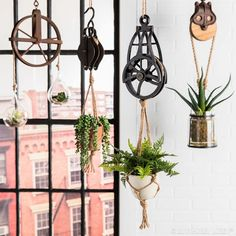 Put an industrial spin on your green thumb endeavors by hanging foliage from stylish pulleys. No green thumb? Go for faux! Country Decor, Rustic Decor, Farmhouse Decor, Antique Decor, Indoor Planters, Hanging Planters, Hobby Lobby Furniture, Pipe Furniture, Furniture Design