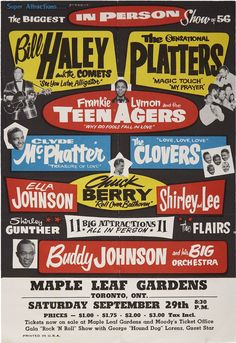 """Rock N Roll """"The Biggest In Person Show of HQ Re-Edit Frankie Lymon & The Teenagers, Bill Haley and the Comets The Platers Chuck Berry and many Vintage Concert Posters, Vintage Posters, Retro Posters, Fools Fall In Love, Bill Haley, Rock Posters, Music Posters, Theatre Posters, Band Posters"""